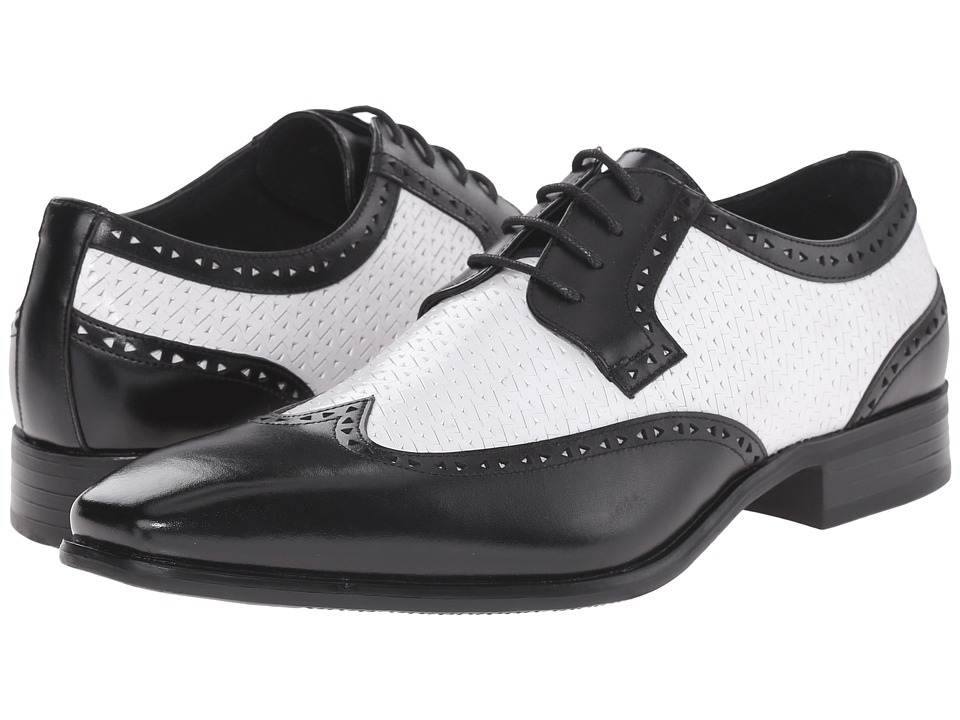 Stacy Adams - Melville BlackWhite Mens Lace Up Wing Tip Shoes $90.00 AT vintagedancer.com