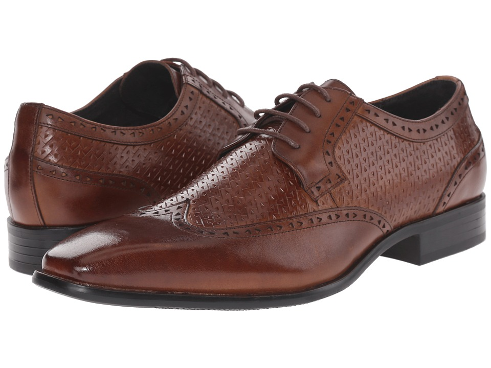 Stacy Adams - Melville Cognac Mens Lace Up Wing Tip Shoes $90.00 AT vintagedancer.com