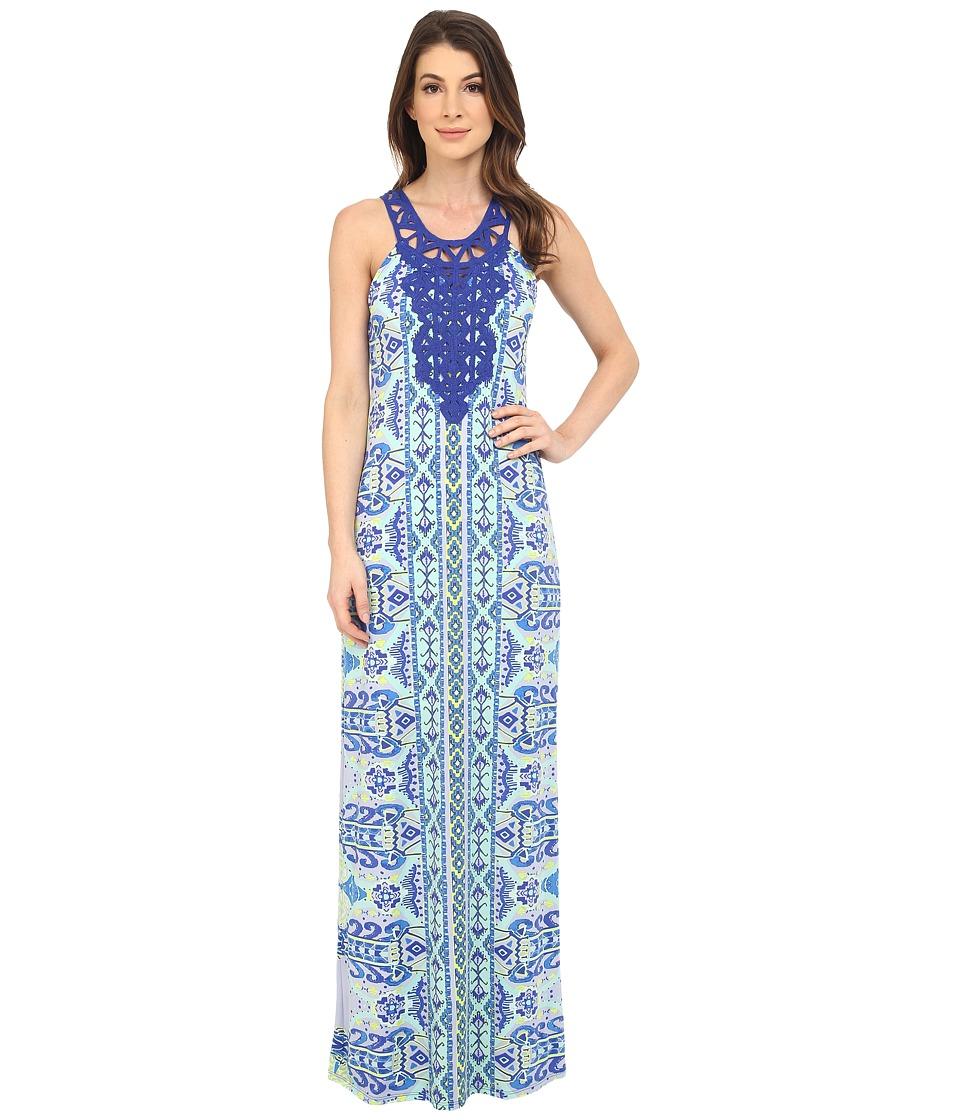 Hale Bob Eye Candy Maxi Dress w/ Crochet Neckline Blue Womens Dress