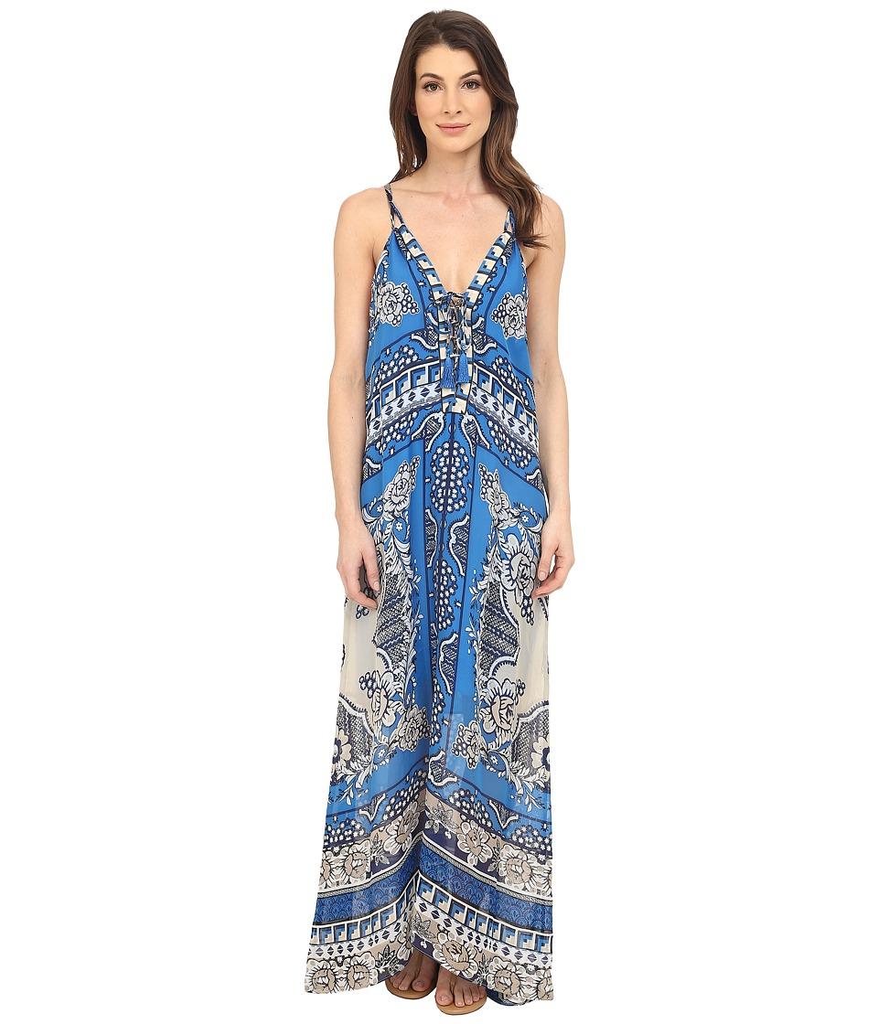 Hale Bob Floral Fusion Silk Maxi Dress Blue Womens Dress