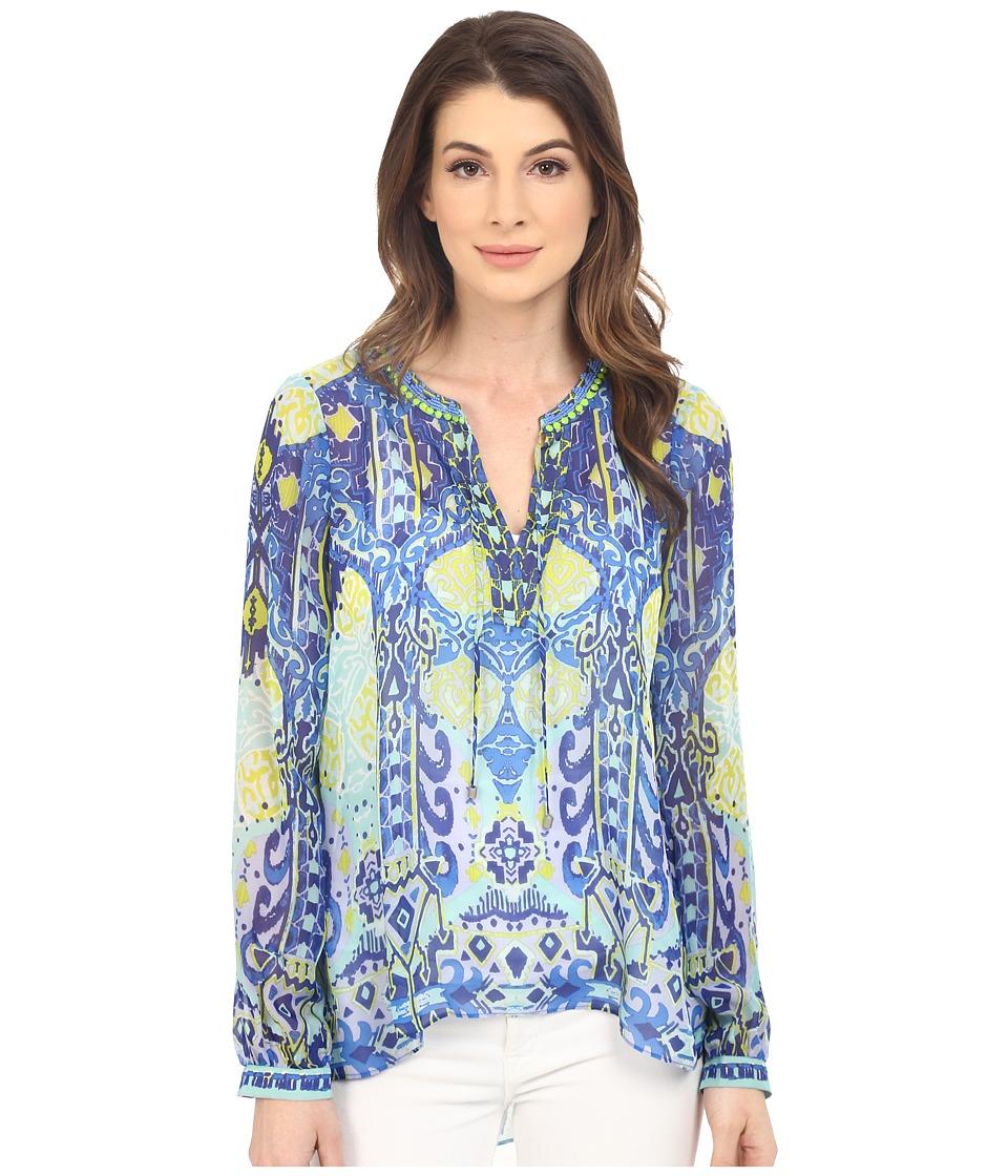 Hale Bob Eye Candy Long Sleeve Silk Blouse Blue Womens Blouse