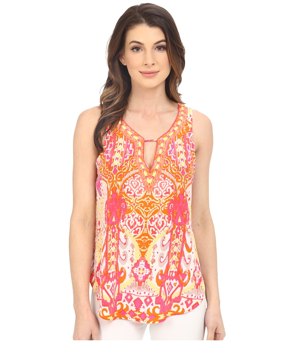 Hale Bob Eye Candy Silk Sleeveless Top Coral Womens Sleeveless