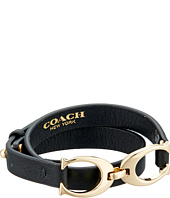COACH - Twin Signature Charm Double Wrap Leather Bracelet