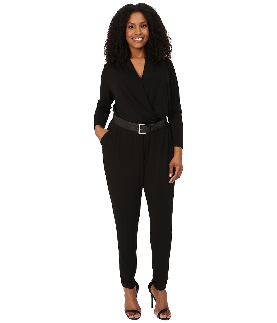 MICHAEL Michael Kors - Plus Size Belted Jumpsuit (Black/Silver) Women's Jumpsuit & Rompers One Piece