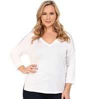 MICHAEL Michael Kors - Plus Size Studded Shoulder 3/4 Sleeve V-Neck