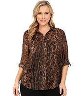 MICHAEL Michael Kors - Plus Size Lurex Embellished Button Down Top