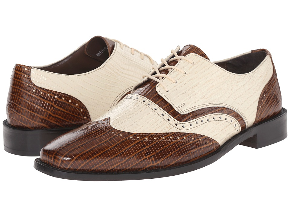 Stacy Adams - Granado MustardIvory Mens Lace Up Wing Tip Shoes $90.00 AT vintagedancer.com