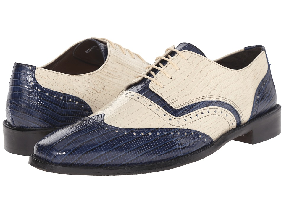 Stacy Adams - Granado Dark BlueIvory Mens Lace Up Wing Tip Shoes $90.00 AT vintagedancer.com