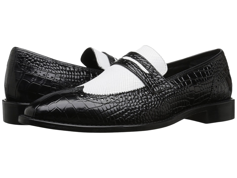 Stacy Adams - Valenti BlackWhite Mens Lace Up Wing Tip Shoes $90.00 AT vintagedancer.com