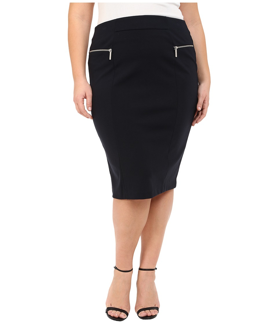 MICHAEL Michael Kors Plus Size Zip Ponte Long Pencil Skirt New Navy Womens Skirt