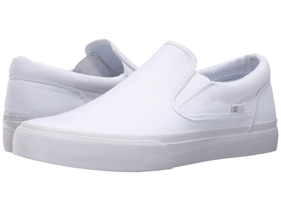 DC Trase Slip-On TX (White/White) Skate Shoes