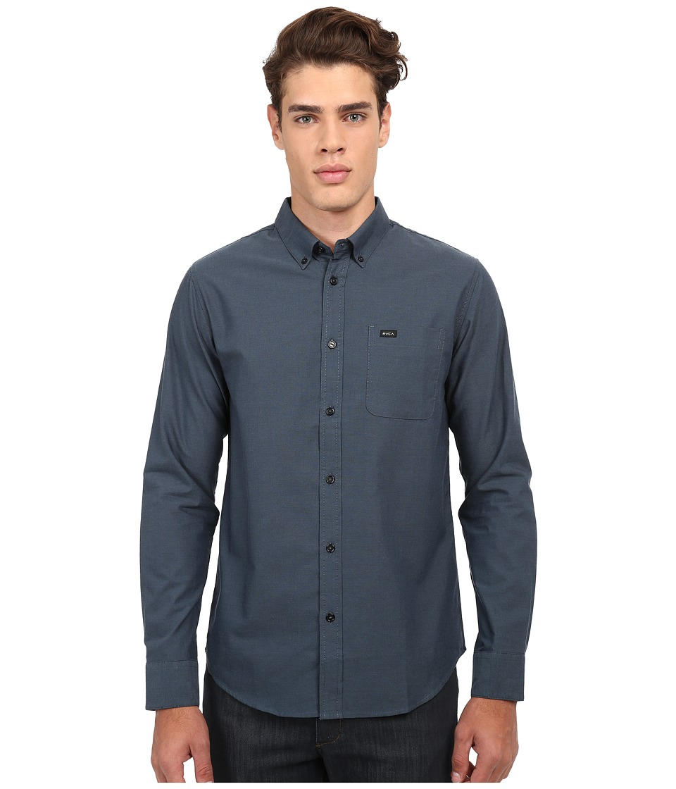 RVCA Thatll Do Oxford Long Sleeve Shirt Carbon Mens Long Sleeve Button Up