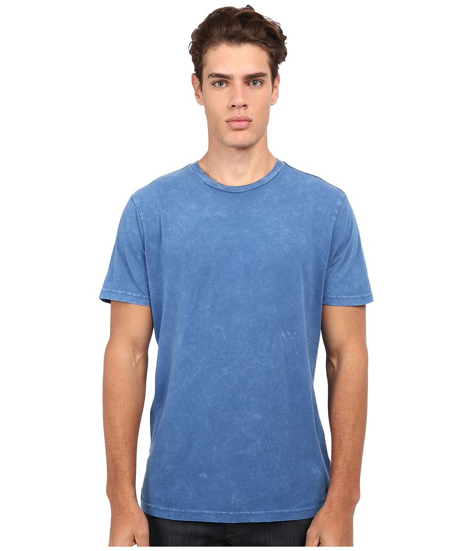 RVCA Label Mineral Wash Tee Dark Blue Mens T Shirt