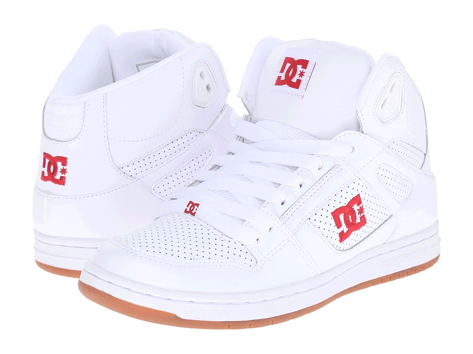 DC - Rebound Hi W (White/Red) Womens Skate Shoes