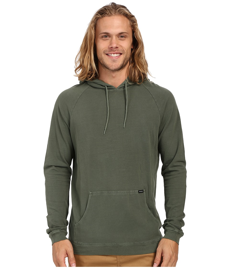 RVCA Pick Pullover Knit Duck Green Mens Long Sleeve Button Up
