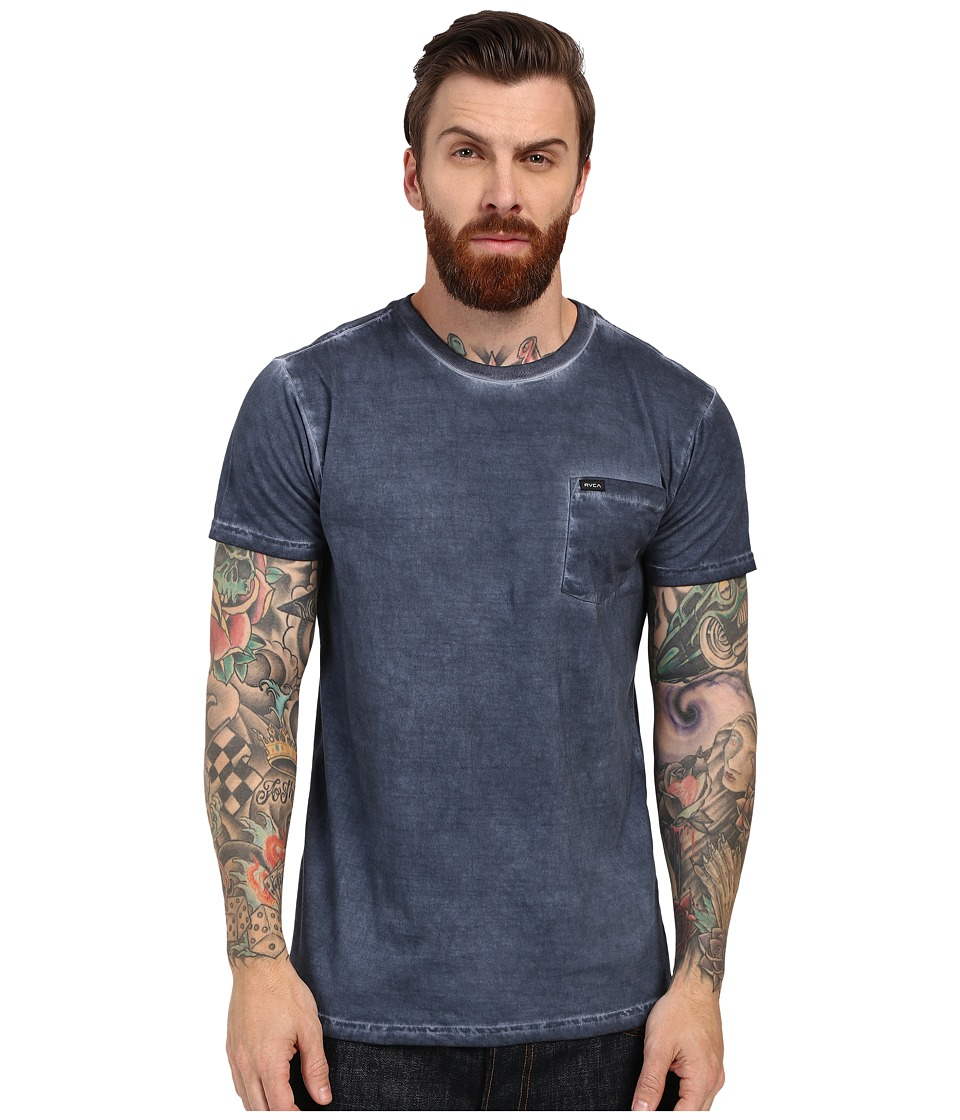 RVCA Cold Call Short Sleeve Knit Dark Denim Mens Short Sleeve Pullover