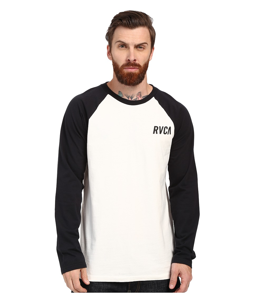 RVCA Outfield Raglan Vintage White Mens Clothing