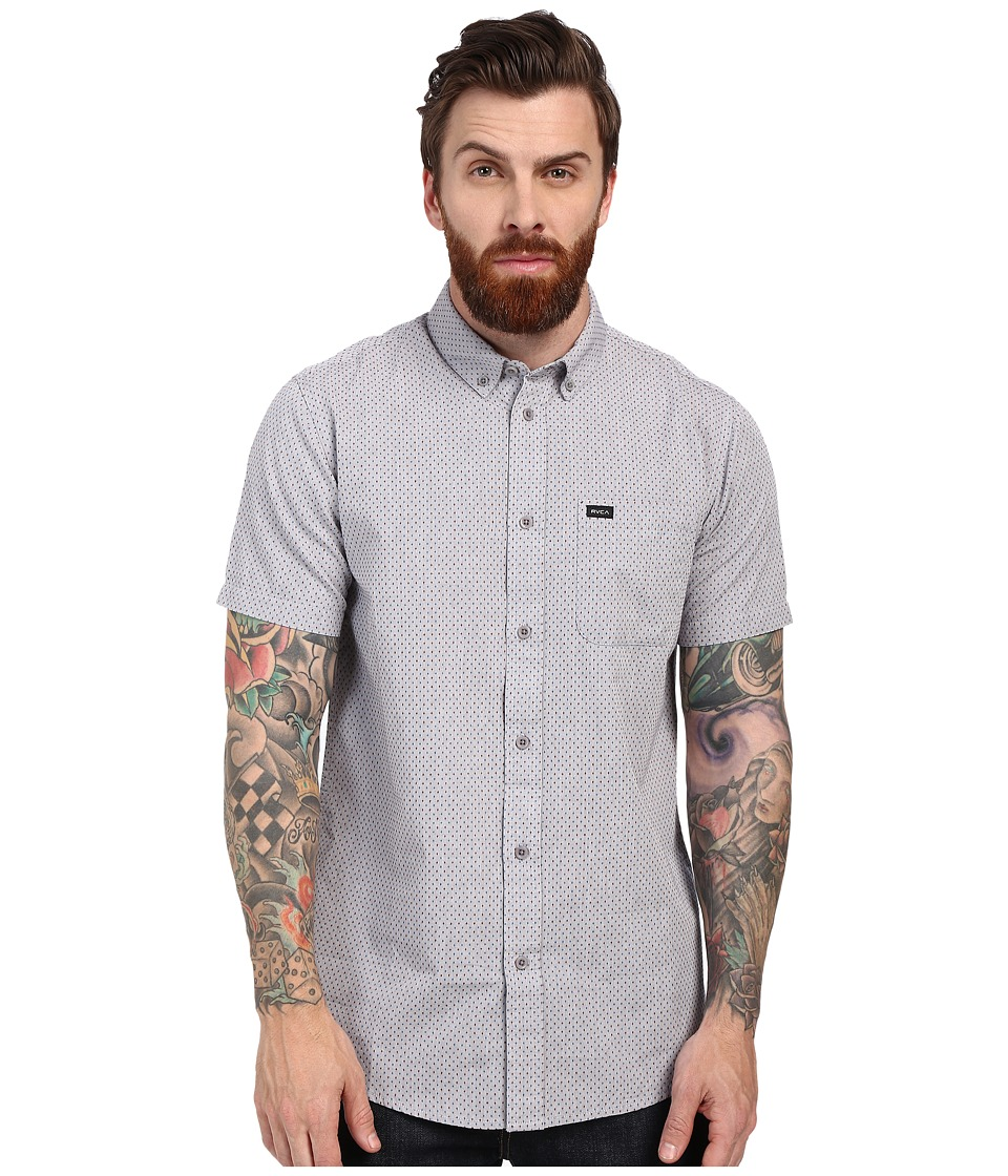 RVCA Thatll Do Crosses Short Sleeve Woven Grey Mens Short Sleeve Button Up