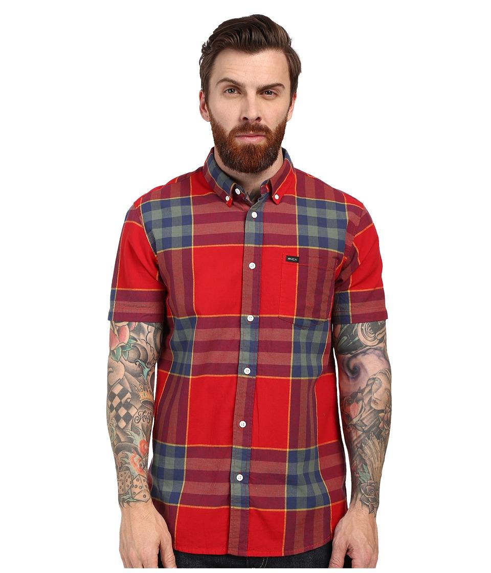 RVCA Brookfield Short Sleeve Woven Red Hot Mens T Shirt