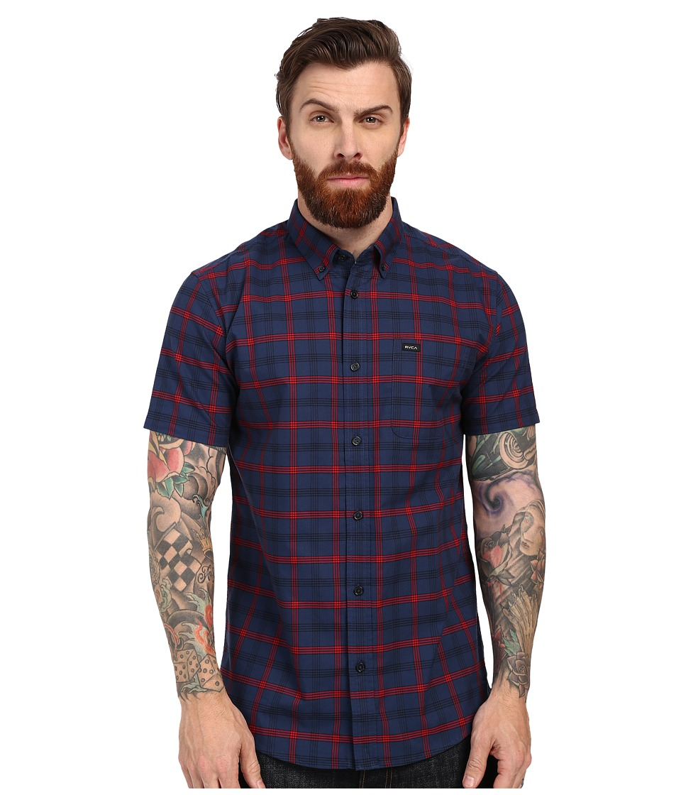 RVCA Thatll Do Plaid Short Sleeve Woven Neptune Blue Mens Short Sleeve Button Up