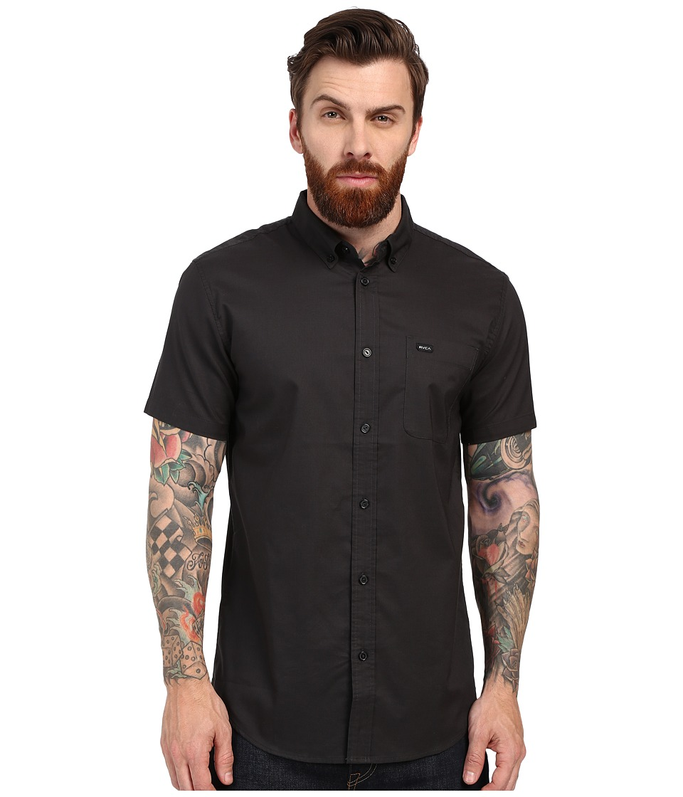 RVCA Thatll Do Oxford Short Sleeve Woven Pirate Black Mens Short Sleeve Button Up