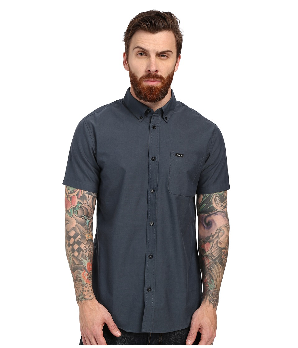 RVCA Thatll Do Oxford Short Sleeve Woven Carbon Mens Short Sleeve Button Up