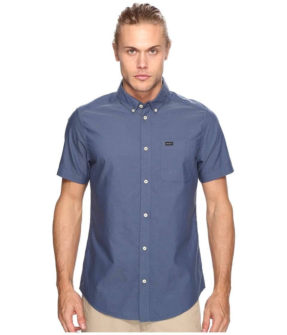 RVCA Thatll Do Oxford Short Sleeve Woven Dark Blue Mens Short Sleeve Button Up