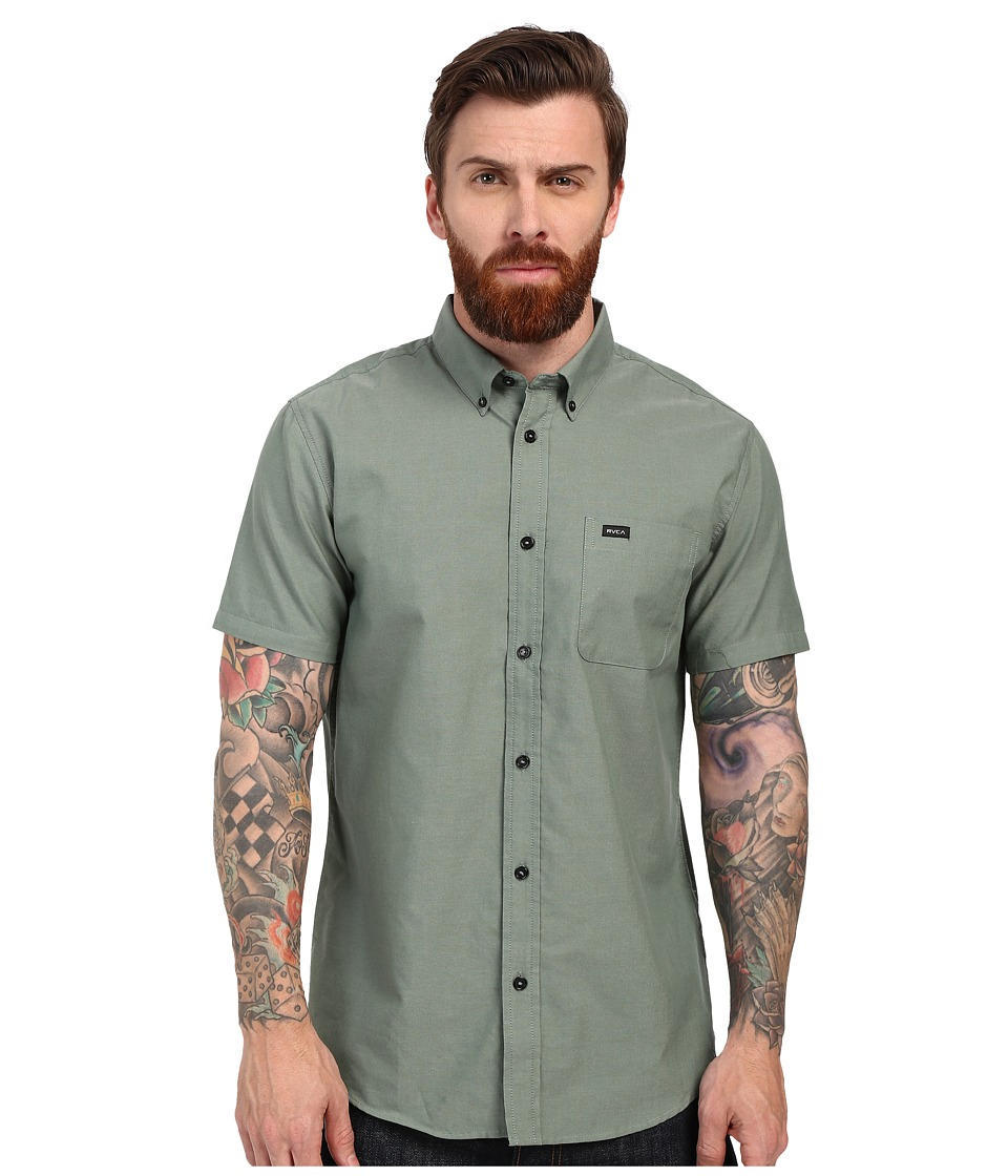 RVCA Thatll Do Oxford Short Sleeve Woven Duck Green Mens Short Sleeve Button Up