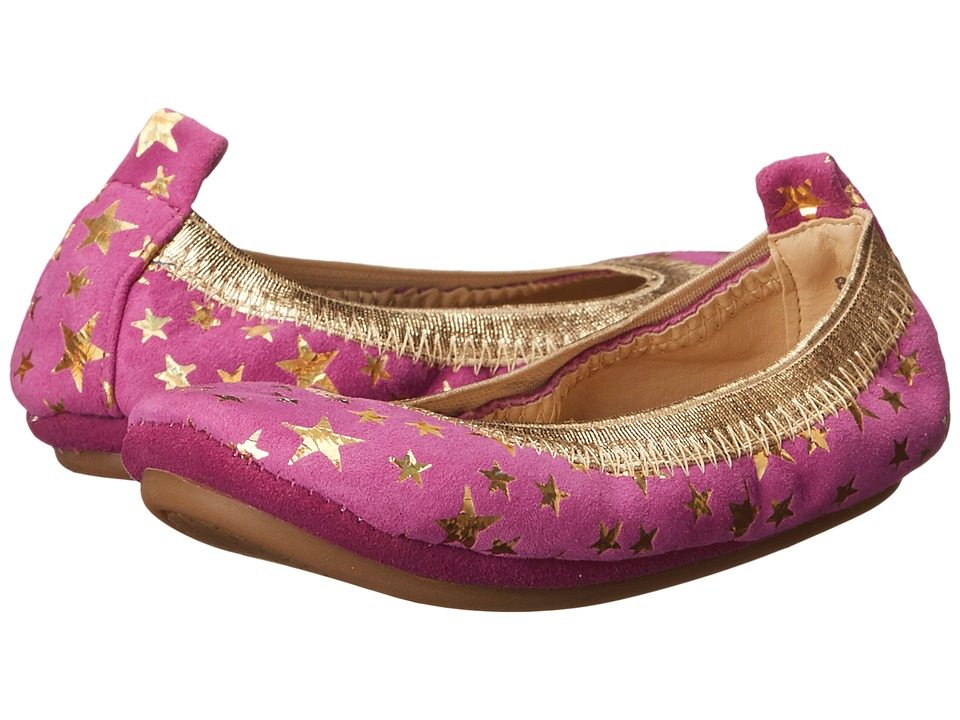 Yosi Samra Kids Sammie Foil Printed Stars Toddler Vivid Violet/Pure Gold Holographic Girls Shoes