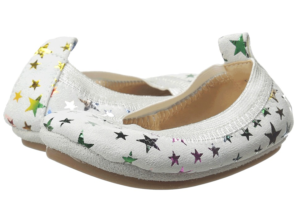 Yosi Samra Kids Sammie Foil Printed Stars Toddler White/Rainbow Metallic Girls Shoes