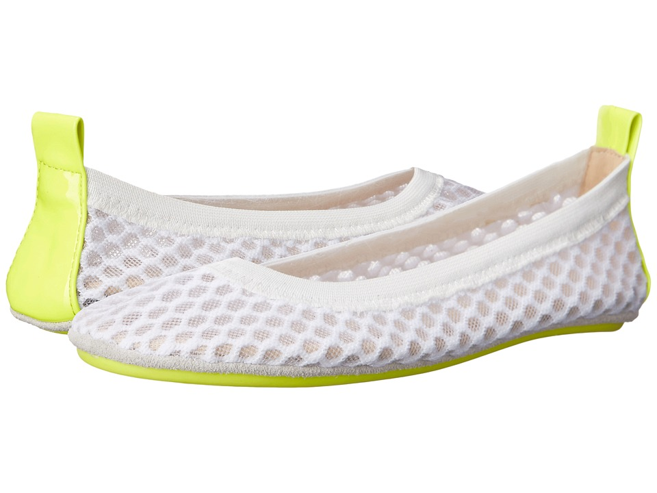 Yosi Samra Kids Sammie 3D Mesh with Contrast Sole Toddler/Little Kid/Big Kid White/Citron Girls Shoes