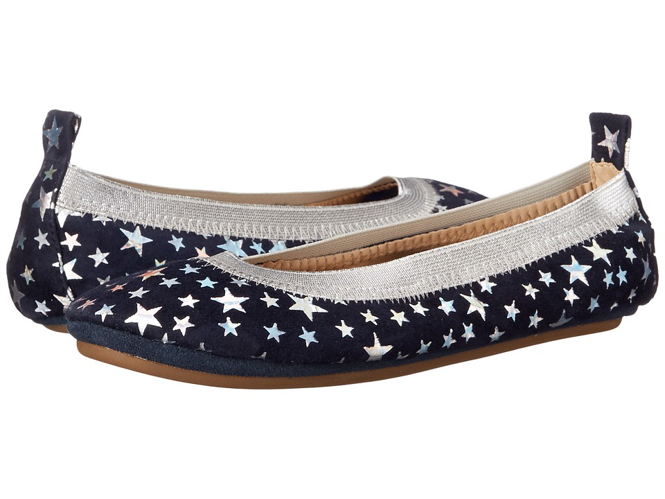 Yosi Samra Kids Sammie Foil Printed Stars Toddler/Little Kid/Big Kid Indigo/Silver Holographic Girls Shoes
