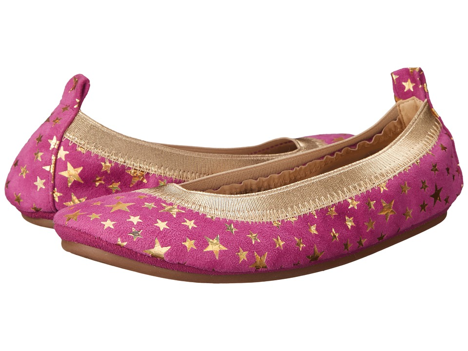 Yosi Samra Kids Sammie Foil Printed Stars Toddler/Little Kid/Big Kid Vivid Violet/Pure Gold Holographic Girls Shoes