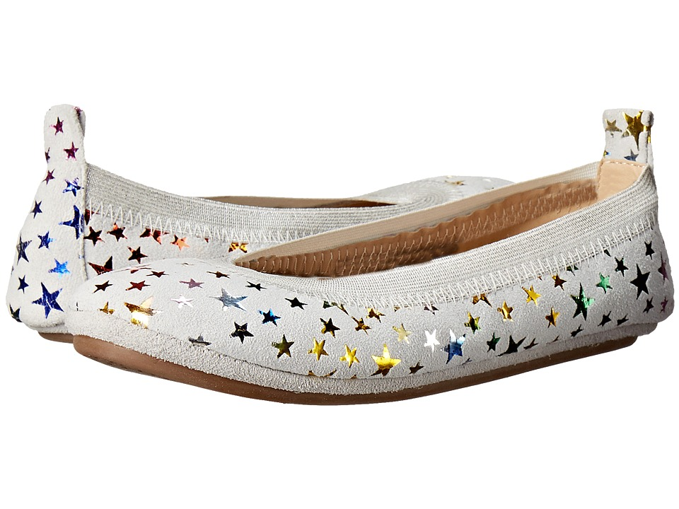 Yosi Samra Kids Sammie Foil Printed Stars Toddler/Little Kid/Big Kid White/Rainbow Metallic Girls Shoes