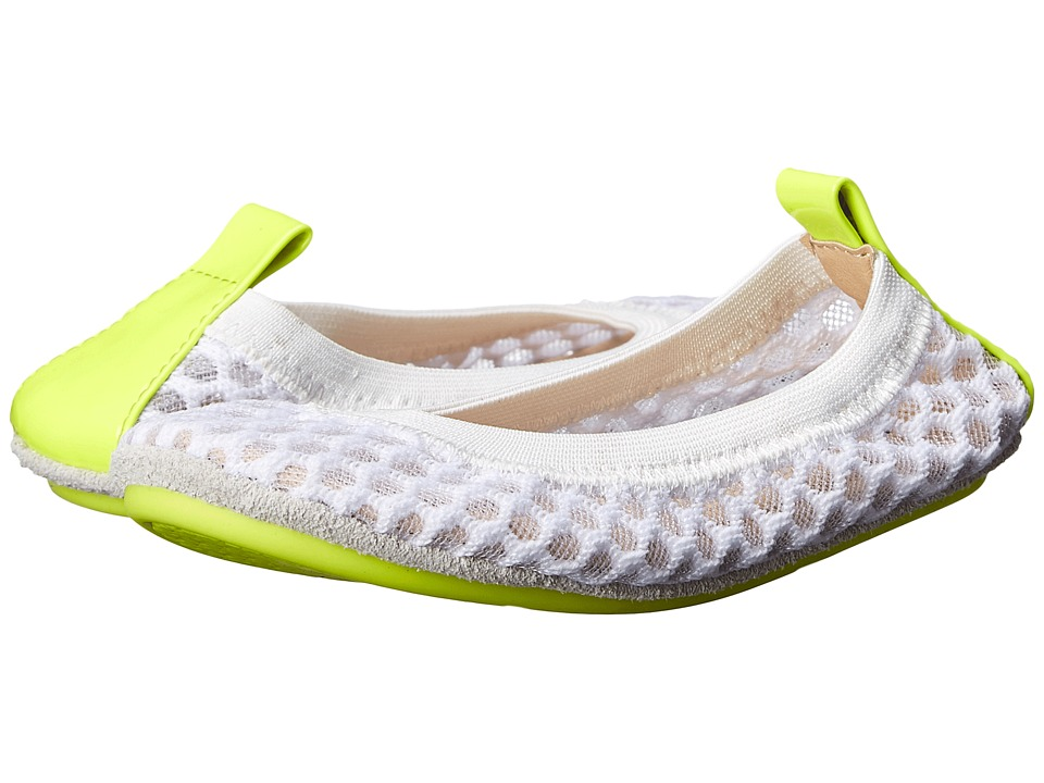 Yosi Samra Kids Sammie 3D Mesh with Contrast Sole Toddler White/Citron Girls Shoes