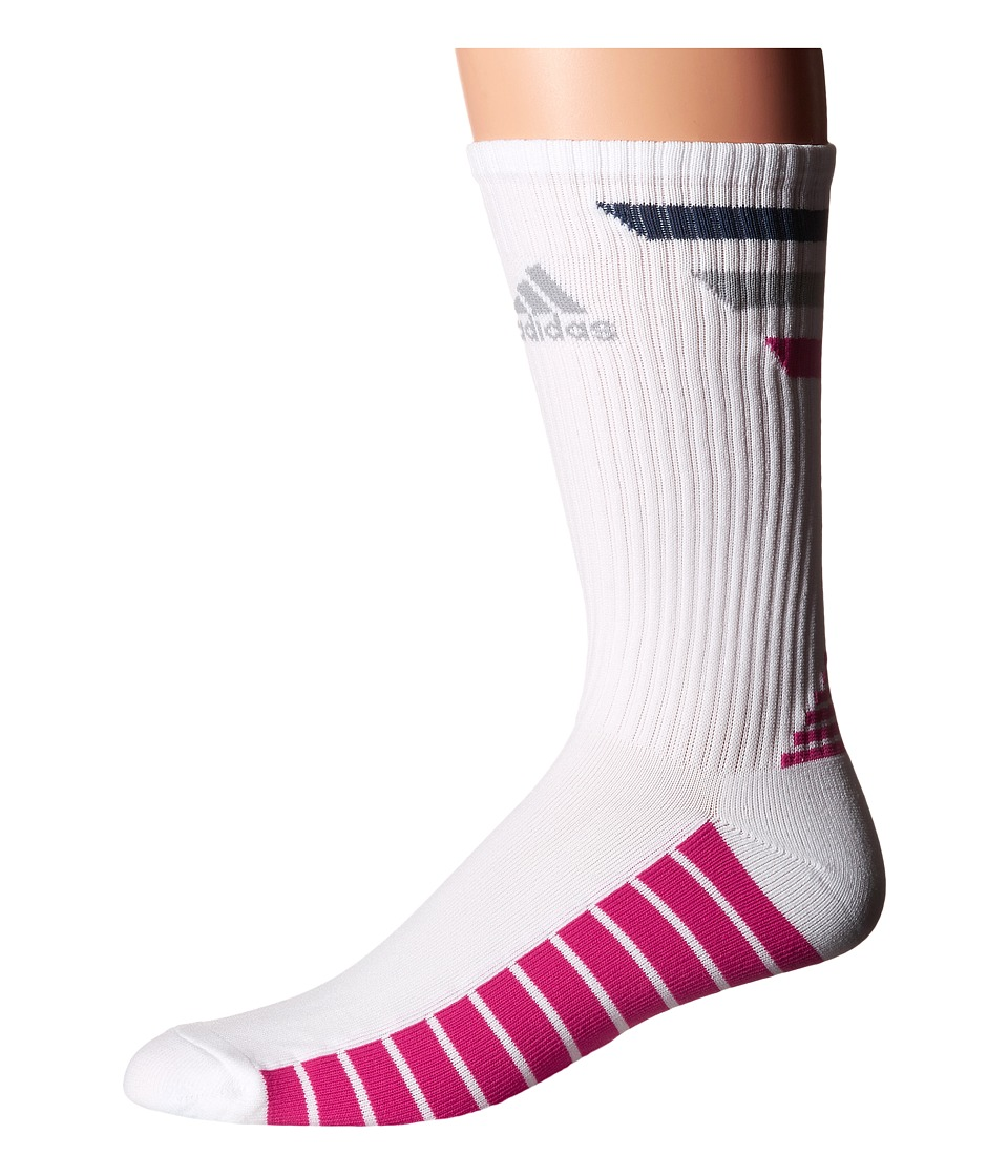 adidas Golf Single 3 Stripes Crew White/Mineral Blue/Mid Grey/EQT Pink Mens Crew Cut Socks Shoes