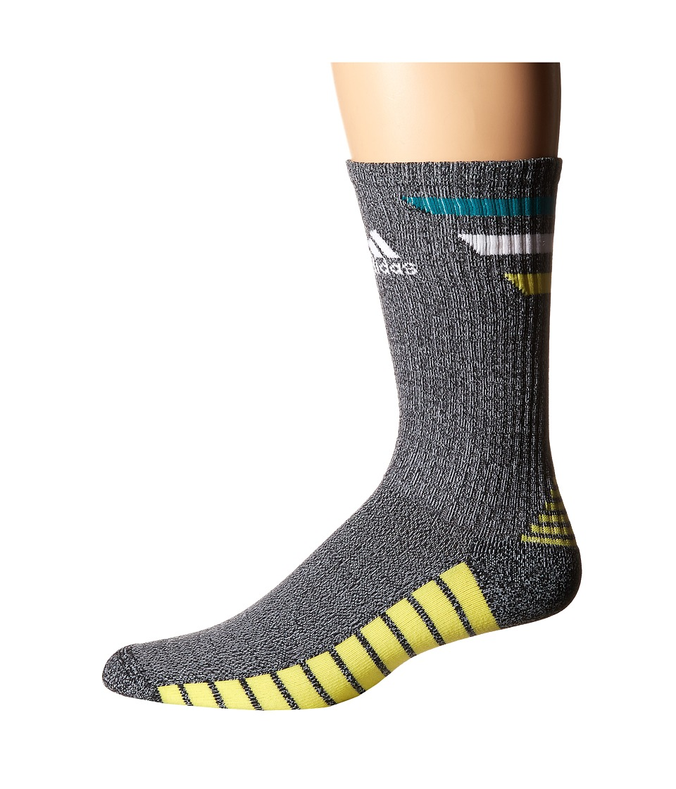 adidas Golf Single 3 Stripes Crew Black/EQT Green/White/Light Yellow Mens Crew Cut Socks Shoes