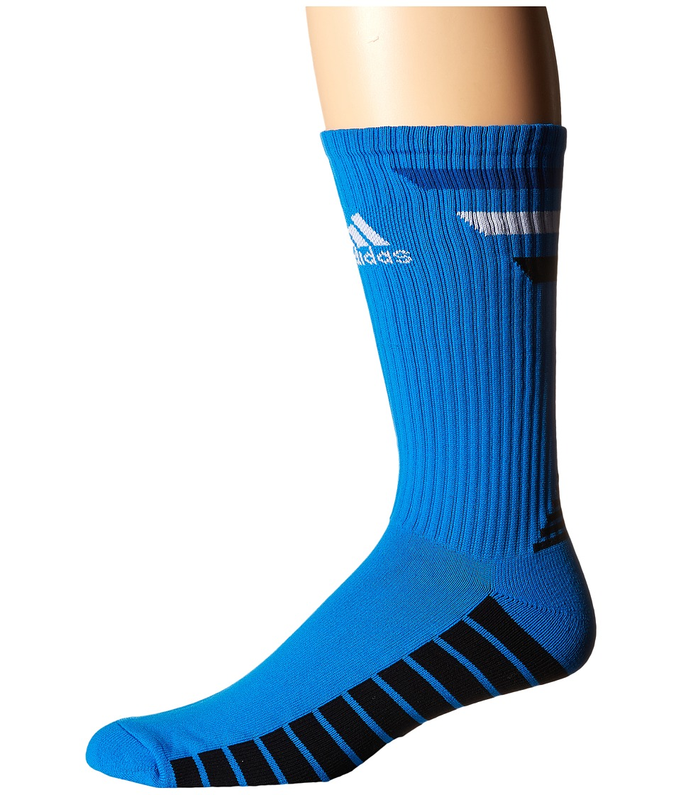 adidas Golf Single 3 Stripes Crew Shock Blue/EQT Blue/White/Black Mens Crew Cut Socks Shoes