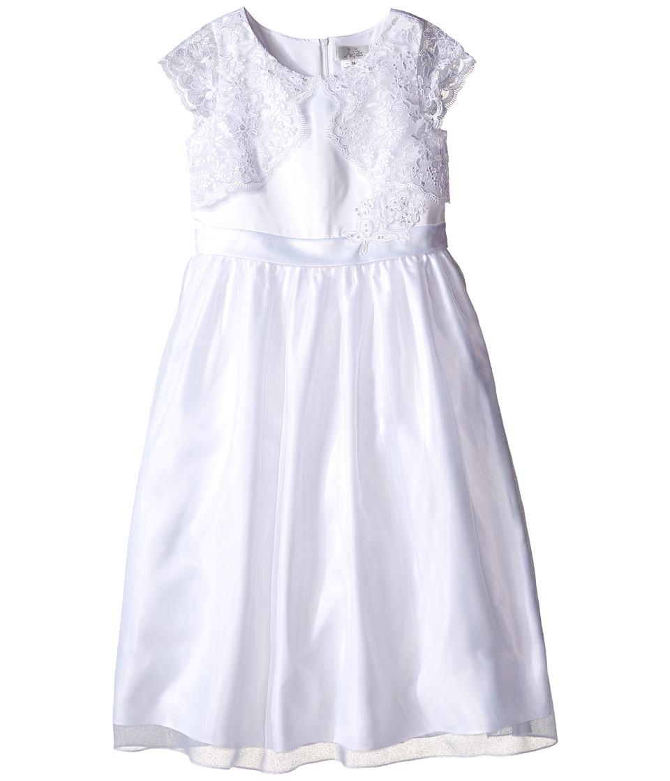 Us Angels Cap Sleeve Lace Mock Bolero w/ Full Skirt Little Kids/Big Kids White Girls Dress