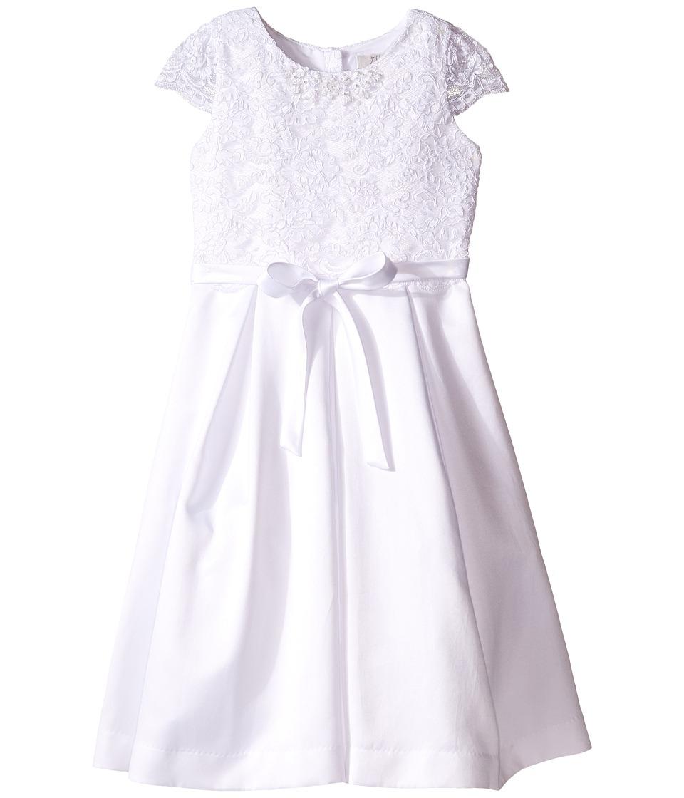 Us Angels Cap Sleeve Corded Lace Bodice w/ Box Pleat Skirt Little Kids/Big Kids White Girls Dress