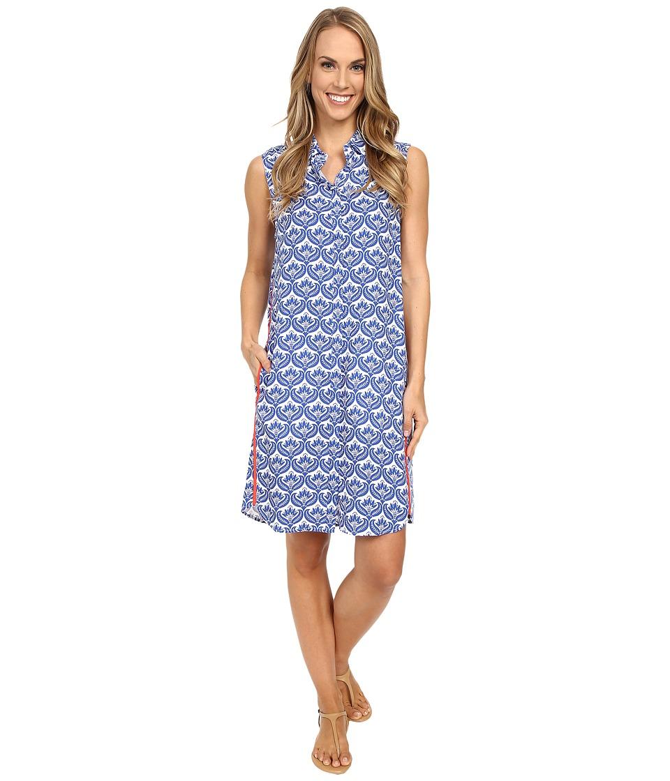 Hatley Sleeveless Shirtdress Sapphire Embossed Flowers Womens Dress