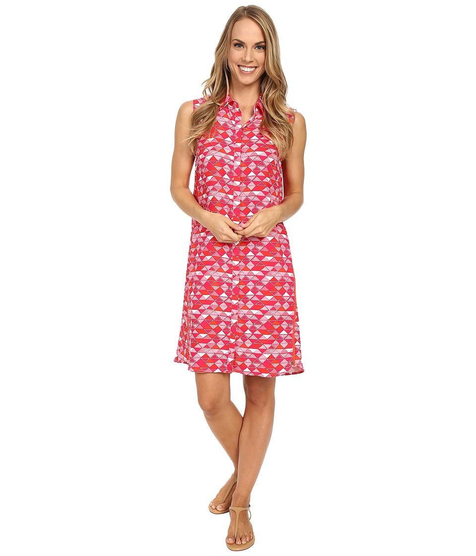 Hatley Sleeveless Shirtdress Fuchsia Triangles Womens Dress