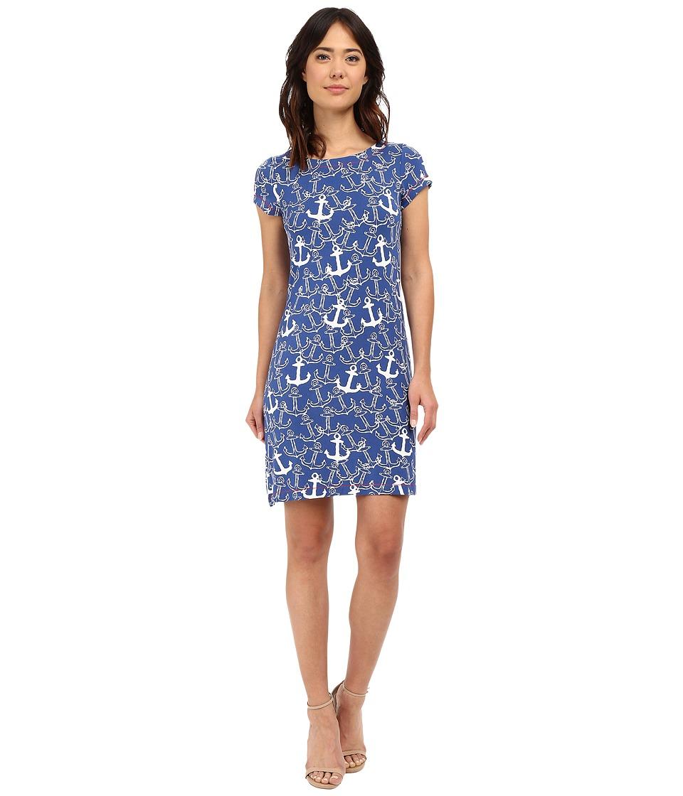Hatley T Shirt Dress Sapphire Painted Anchors Womens Dress