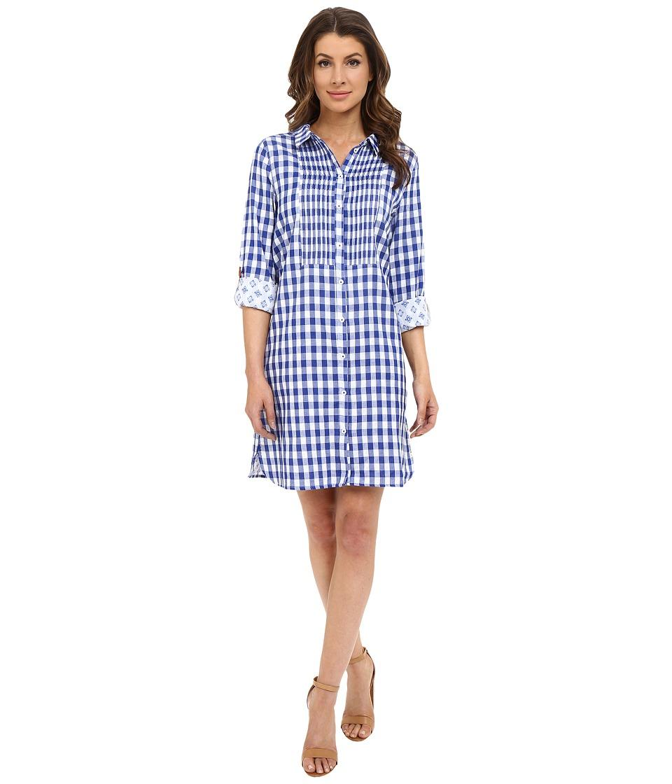 Hatley Cotton Shirtdress Sea Blue Gingham Womens Dress