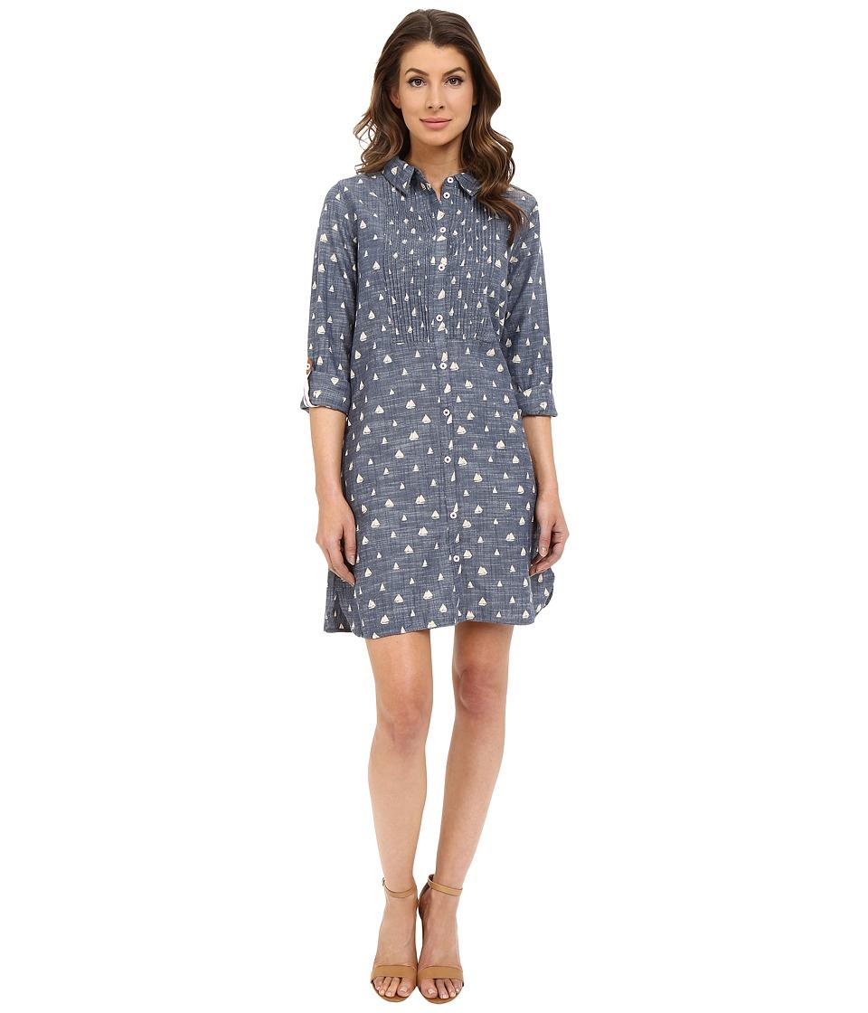 Hatley Cotton Shirtdress Sailboats Chambray Womens Dress