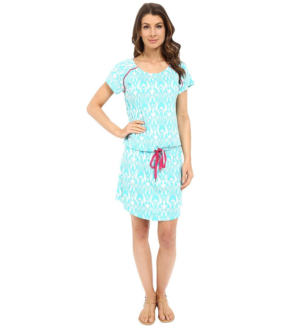 Hatley Dropped Waist Dress Turquoise Ikat Womens Dress