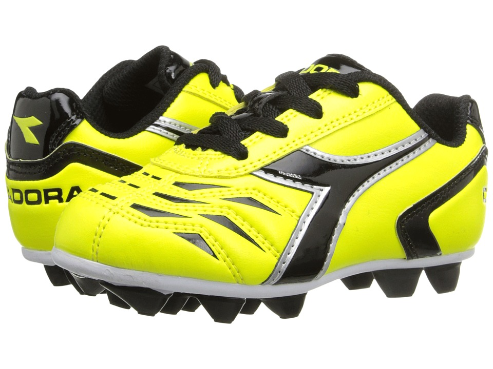 Diadora Kids Capitano MD Jr Soccer Toddler/Little Kid/Big Kid Yellow Fluo/Black Kids Shoes