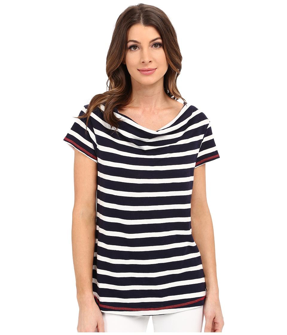 Hatley Cowel Neck Top Navy Stripes Womens Short Sleeve Pullover