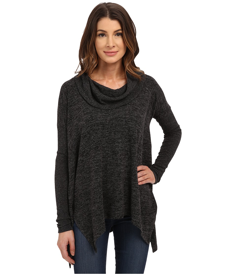 Mod o doc Heather Sweater Long Sleeve Cowl Neck Pullover w/ Contrast Sleeve Black Womens Long Sleeve Pullover