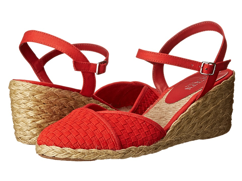 LAUREN by Ralph Lauren - Capricia (Red Woven Cotton Cording/Canvas) Women's Wedge Shoes